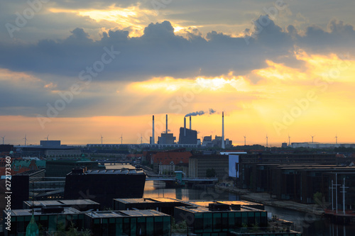 Smoke from smokestacks over the city Wallpaper Mural