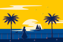 Sunset Summer Tropical Beach With Palm Trees And Sea. Nature Landscape And Seascape. Girl On The Promenade.