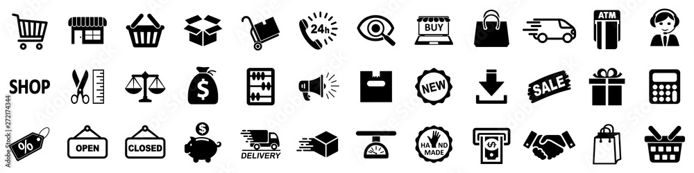 Fototapety, obrazy: Shopping icons, set shop sign for web development apps and websites - stock vector