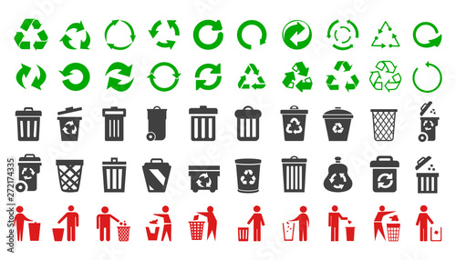 Cuadros en Lienzo Recycle icons set and trash can icons with man - vector