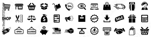 Fotomural Shopping icons, set shop sign for web development apps and websites - stock vect