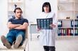 Leinwandbild Motiv Young male patient visiting aged female doctor
