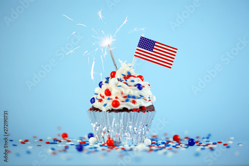 Aluminium Prints Wild West 4th of July cupcake with flag and sprinkles