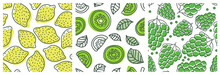 Lemon, Kiwi And Grapes. Fruit Seamless Pattern Set. Fashion Design. Food Print For Clothes, Linens Or Curtain. Hand Drawn Vector Sketch Background Collection