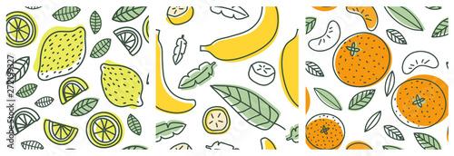 Lemon, banana and orange Fototapete