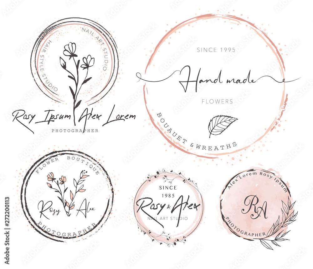 Fototapety, obrazy: Hand Drawn Leaf Wreath Logo Design