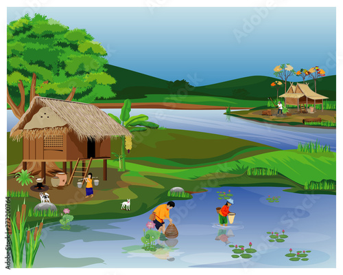 Canvas Prints River, lake lifestyle of people at countryside vector design