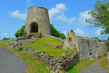 Windmill Ruin In Annaberg Sugar Plantation In Virgin Islands National Park At Saint John Island, US Virgin Islands, USA.