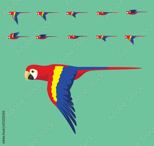 Animation Macaw Flying Cute Cartoon Vector Illustration Canvas Print