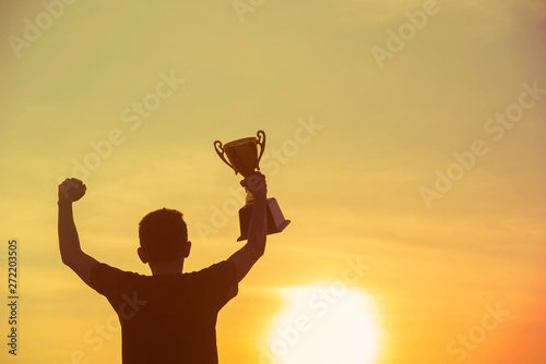 Sport Silhouette trophy best man Winner Award victory trophy for professional challenge Fototapete