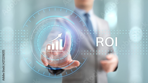 Fotomural  ROI Return on investment financial growth concept with graph, chart and icons