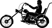 Easy Rider Motorcycle Silhouette, Side View