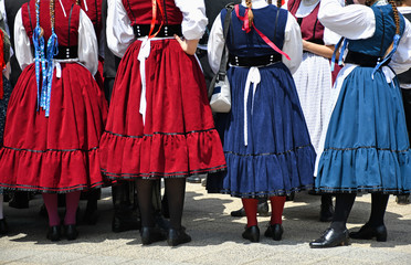 Folk dancers in traditional clothing