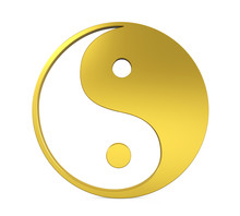 Golden Yin And Yang Symbol Isolated