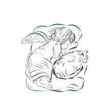 Beautiful Angel Is Sleeping With Cat. Fairytale Hand Drawn Design For Print Clothing, Wall Art, Products For Kids, Poster, Wall Art, Room Decor.