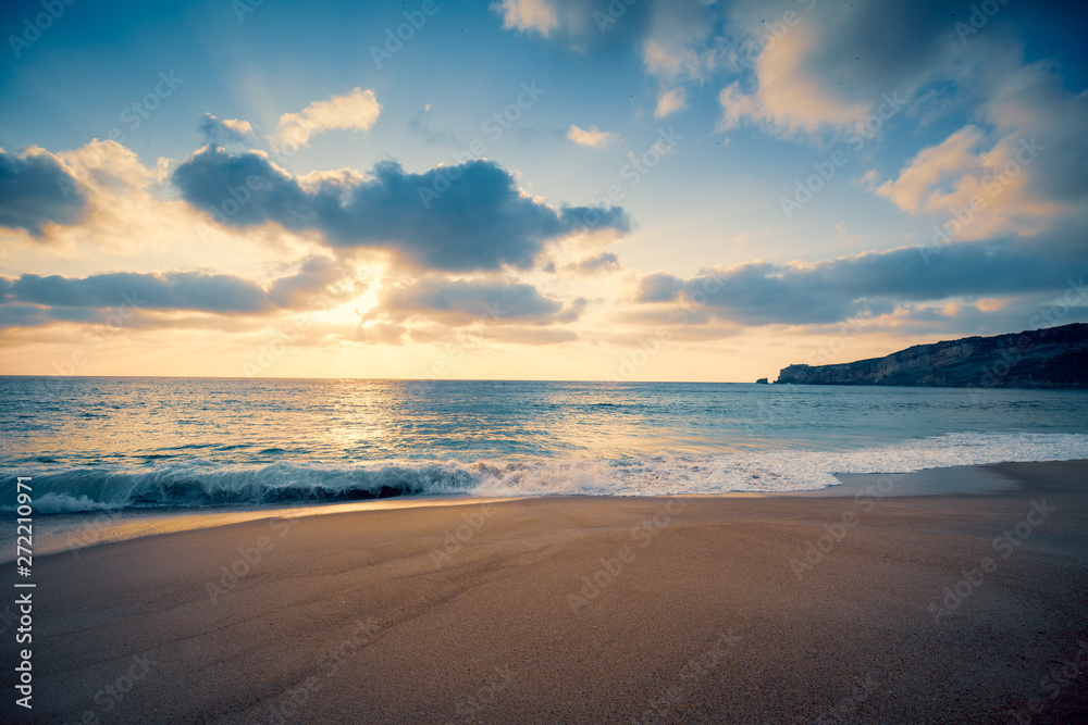 Fototapety, obrazy: Sunset over the sea. Atlantic ocean in the evening. Nazare, Portugal, Europe