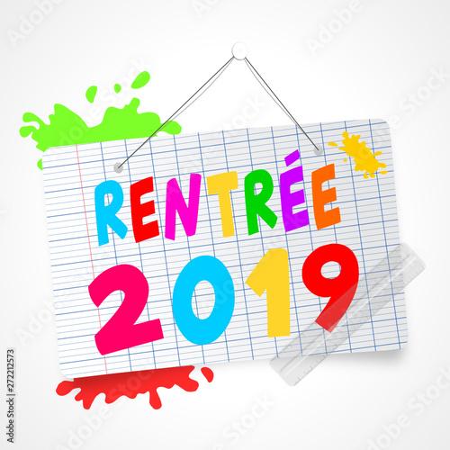 Staande foto Retro sign pàanneau rentrée scolaire 2019 - 2020