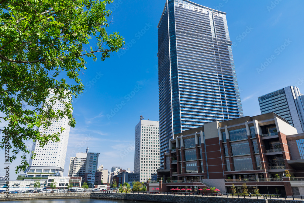 Fototapety, obrazy: (神奈川県ー都市風景)青空の下のみなとみらい都市風景5
