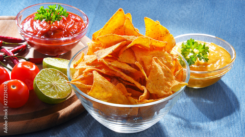 Poster Pays d Asie Composition with bowl of tortilla chips.
