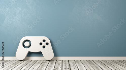 Fotografie, Tablou  Gamepad Controller Symbol on Wooden Floor Against Wall