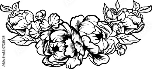 Flower border coloring page | 228x500