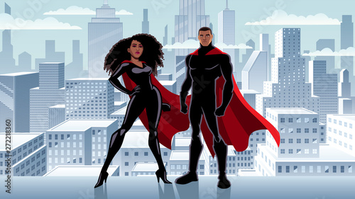 Superhero Couple Black City Winter