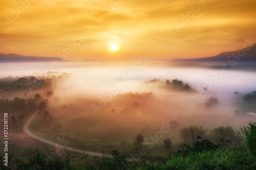 Foto auf Leinwand Orange Beautiful landscape Mountain in Thailand