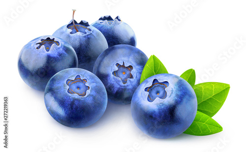 Isolated berries. Pile of blueberries isolated on white background with clipping path