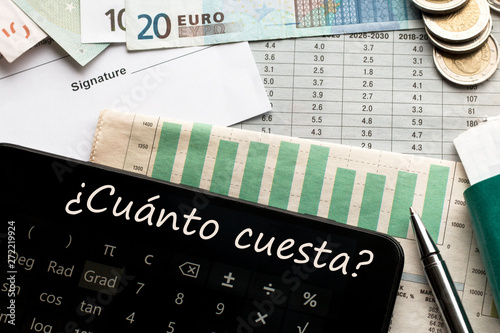 Money, calculator with How much? text in Spanish, document