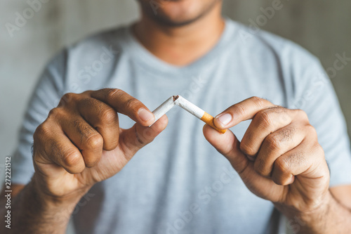 Cuadros en Lienzo Breake down cigarette.Quitting from addiction concept.