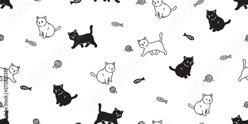 Fotografie, Obraz cat seamless pattern vector kitten calico scarf isolated cartoon tile background