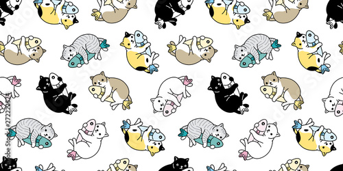 cat seamless pattern vector kitten hug fish calico scarf isolated cartoon tile wallpaper repeat background illustration design