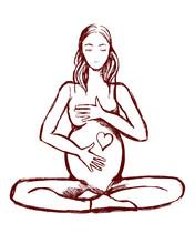 Sketch Of A Pregnant Woman Doi...