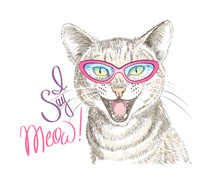 Hand-drawn Meowing Cat. Print For T-shirts, Posters, Bags And Covers.