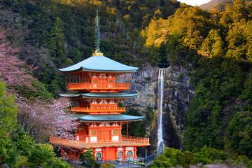 Fototapeta Japoński Japanese temple and Waterfall