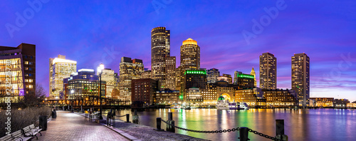 Leinwand Poster Boston Downtont night Panorama