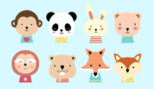 Set Of Cute Animals With Monke...
