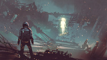 Sci-fi Scene Of The Futuristic Man Facing The Glowing Girl In Abandoned Planet, Digital Art Style, Illustration Painting