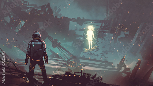 Spoed Foto op Canvas Grandfailure sci-fi scene of the futuristic man facing the glowing girl in abandoned planet, digital art style, illustration painting