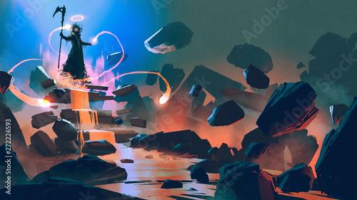 śmierć unosząca się z jego magią w piekle, styl sztuki cyfrowej, malarstwo ilustracyjne