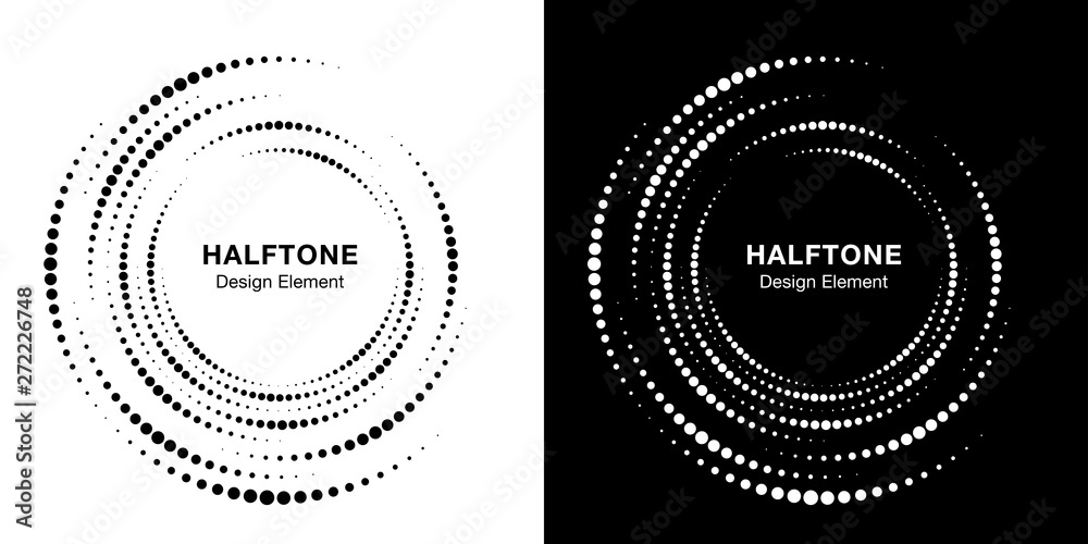 Fototapeta Set of Halftone vortex circle frame dots logo isolated on background. Circular swirl design element for treatment, technology. Incomplete round border Icon using halftone circle dots texture. Vector