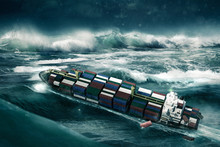 Container Ship In The Storm