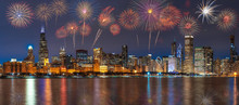 Multicolor Firework Celebration Over The Panorama Of Chicago Cityscape River Side Along Lake Michigan At Beautiful Twilight Time, Illinois, United States, 4th Of July And Independence Day Concept