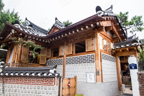 Scenics around a residential town of Bukchon Hanok Village in Seoul South Korea Canvas Print
