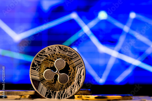 canvas print motiv - Sensay : Cryptocurrency coins - Ripple and other close up