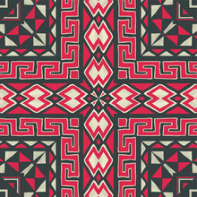 Indian Embroidery. Geometric Folklore Ornament. Tribal Ethnic Vector Texture. Seamless Striped Pattern In Aztec Style. Scandinavian, Slavic, Mexican, Folk Pattern