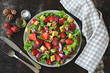 Healthy salad with strawberries and blue cheese. Keto diet. Keto lunch Summer strawberry salad.