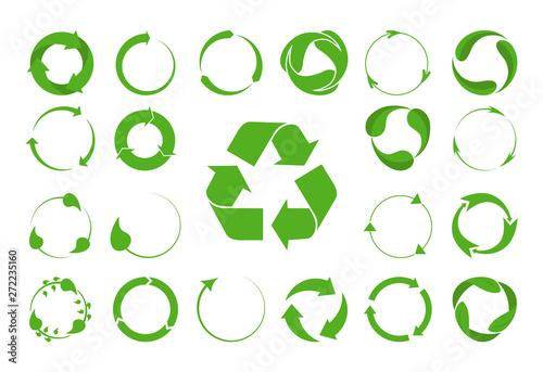 Fototapeta Recycle arrows vector set -ecology icons collection. obraz