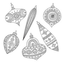 Vector Christmas Coloring Tree Decoration Baubles Line Art