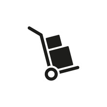 Handcart Icon. A Handcart With A Box Vector. Wheelbarrow For Transportation Of Cargo. Isolated.